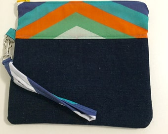 Chevron coloured stripe denim wristlet with pinwheel lining