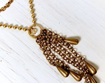 Brass Bells Tassel // Vintage Necklace