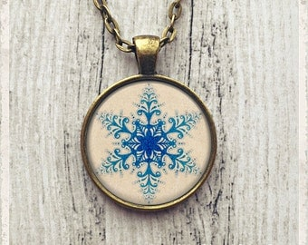 Snowflake Necklace Pendant, Snowflake Pendant, Winter Necklace, Blue Snowflake Necklace, Snowflake Jewelry, Gift for Her, Custom Necklace