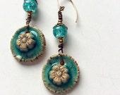 Flower dangle earrings. Ceramic flower earrings. Turquoise green cracked glass beads. Gold fill ear wires.