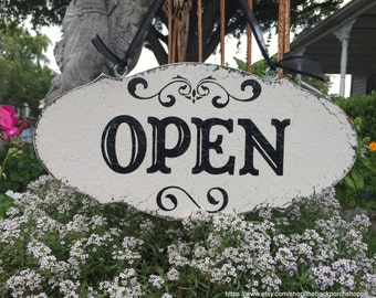 OPEN CLOSED Sign, Business Sign, Reversible Open Closed Signs, 7 x 14