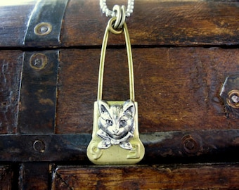 Laundry Pin Necklace, Cat Necklace, Kitten, Kitty Cat, Silver, Pet, Cat Lover, Victorian, Recycled, Upcycled Necklace, Brass Laundry Pin