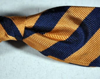 Vintage BOW TIE Beau Brummell Snap On Gold and Navy Silk Striped