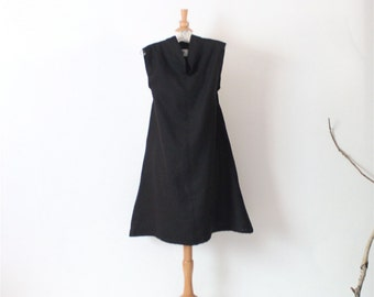 ready to wear black linen chipao collar slim shoulder linen tunic dress size M