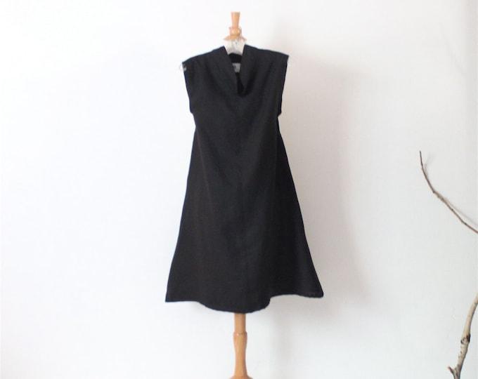 ready to wear black linen chipao collar slim shoulder linen tunic dress size M