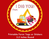 Construction Digger Valentine Tag, Instant Download Tags or Stickers --- Digital File of 12 2.5 inch Round Stickers or Tags