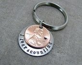 Anniversary Gift,1 Year And Counting KeyChain, Anniversary Date KeyChain, Penny KeyChain