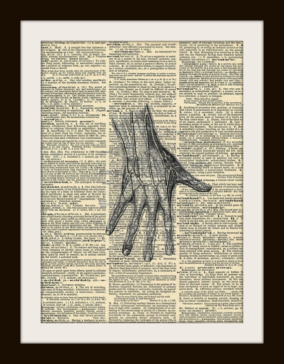 Art Print Anatomical Hand 8x10 Dictionary Gold Gilded Vintage Page