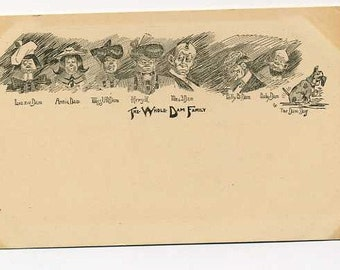 Antique Whole Dam Family Postcard - Early 1900s Humor