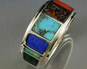 Sterling Silver Solid Stone Inlay Band