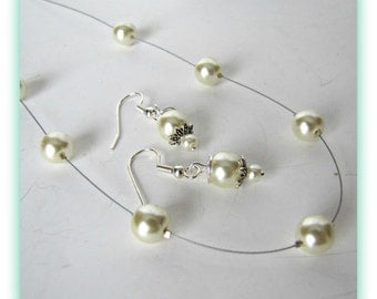 Ivory Pearl Necklace, Earrings Set, Illusion Ivory Necklace set, Jewelry Accessories, Barely There Ivory Pearls, Wedding Jewelry