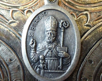 HUGE SALE Saint Biagio / Blaise Religious Holy Italian Medal Protector Of Wild Animals, Patron Of Sufferers Of Throat Ailments Maladies, Pra