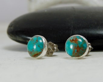 Turquoise Stud Earrings Sterling Silver Posts 8mm Round
