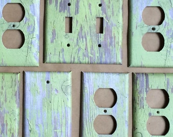 Green Distressed Wood Switchplate Outlet Double Triple Quad Rocker Blank Cable Dimmer