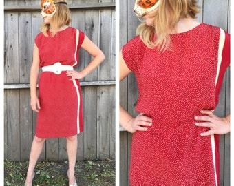 Vintage 80's 100% Silk Red and Beige Polka Dot and Striped Shift Dress by Maggie London | Small/Medium