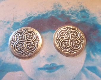 Sterling Silver Plated Brass Floral Celtic Medallions with hole 1180SOX x2