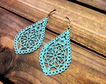 Teal, Western Cowgirl Southwestern Boho Teal Filigree Drop Earrings- Drop Earrings- Dangle Earrings- Filigree Earrings- Hand Painted Earring
