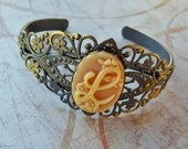 READY TO SHIP - L Initial Letter Cuff Bracelet - Sale - Victorian Art Nouveau Detailed Cameo Antique Gold Silver Filigree - Bella Mia Beads