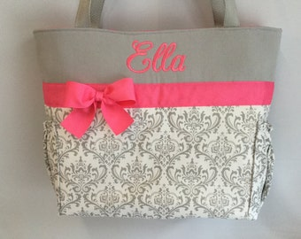 DAMASK Madison in Gray  ... Diaper Bag  .. Bottle Pockets .. Vibrant PINK Accents  ... Free Monogram