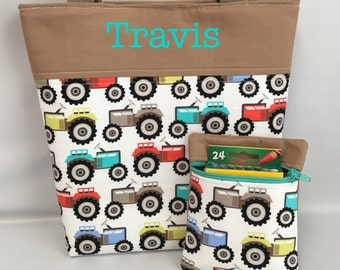 BOY's  Tote and Crayon Pouch Set ... TRACTORS ... Child Size  Bag  ...  Monogrammed  FReE .. Ring Bearer