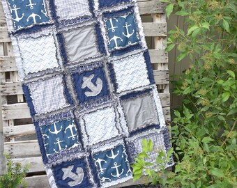 Nautical Baby Quilt Baby Boy Nursery - Navy / Gray Bedding - Anchor Baby Blanket - Baby Boy Nursery - Nautical Nursery Bedding Baby Quilt