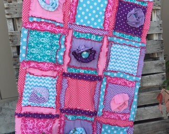 Baby Girl Quilt - Turquoise, Purple, Pink Rag Quilt - Baby Nursery Ideas Cottage Chic Decor- Gifts for Baby Girl New Baby Gift Girls Blanket