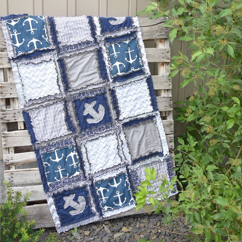 Nautical Themed Bedding For Babies: Nautical Baby Quilt Baby Boy Nursery Navy / Gray Bedding