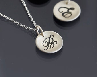 Script Initial Monogram Necklace -  Brushed Sterling Silver Initial Pendant - Handwritten Etched Jewelry