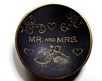 Classic Black & Gold Wedding Ring Dish- Polymer Clay Ring Dish- Wedding Gift- Ready to Ship- Mr. and Mrs. Gift