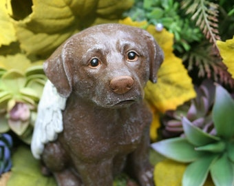 Chocolate Lab Dog Angel - Chocolate Labrador Retriever Concrete Statue Memorial, Indoor or Outdoor