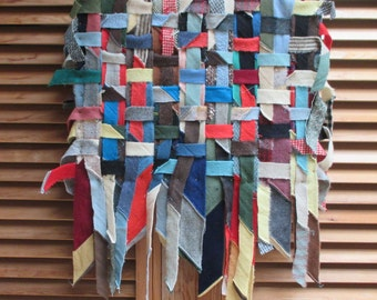 Primitive Folk Art - Wool Scraps Quilt Collage Assemblage - Vintage Recycled Materials on Canvas