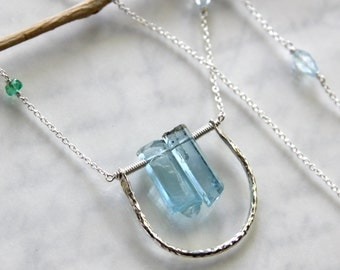 Aquamarine Necklace in Solid Sterling Silver - Beautiful Natural Vietnamese Aquamarine!