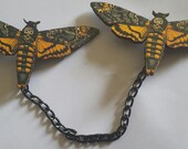 Death head moth, Moth, Moth sweater clips, Butterfly, Collar clip, Insect, animal, Animal sweater clips, MsFormaldehyde