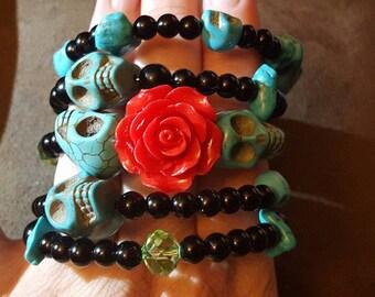 Skull, Day of the dead, Dia de los Muertos, Skull bracelet, Ready to ship, Skull jewelry, Wire wrap, rockabilly, msformaldehyde