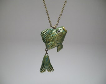 Green Fish Necklace - Fishing Lovers - Polymer Clay Jewelry