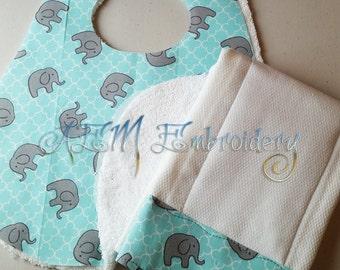 Tossed Elephants Handmade Bib and Burp Cloth Set