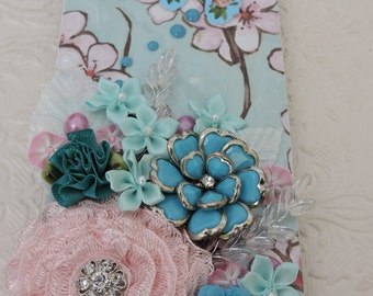 Pink and Aqua Upcycled Door Hanger