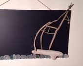 Chalkboard with SailBoat and Beach Glass