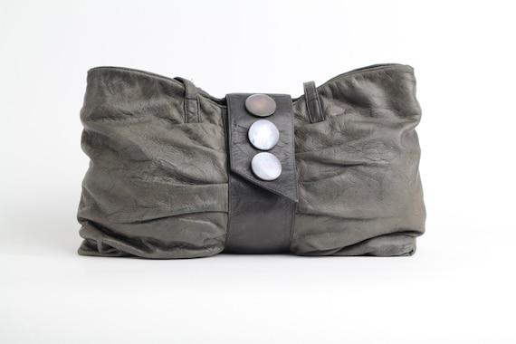 Vintage 80s Crinkled Leather Bag | Gray Leather Shoulder Bag | Slouchy Leather Shopper Purse