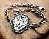 Sugar skull bracelet, Día de los Muertos jewelry, Calaveras sterling silver chain bracelet, handmade skull bracelet Day of the Dead bracelet