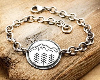 Mountain bracelet, sterling silver bracelet, mountain jewelry, wilderness, camping, hiking, wander, girlfriend gift, Christmas gift