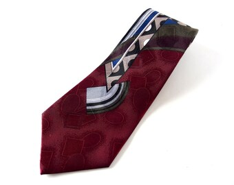 Vintage 1980's Wide Tie - Burgundy and Blue Abstract David Taylor Clip On Tie