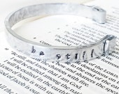 be still - hand stamped hammered silver cuff bracelet