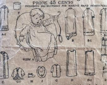 Vintage 20s Infant Layette Edwardian Era Butterick Deltor Sewing Pattern