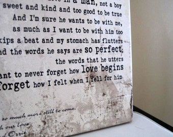 Wedding Quote Sign - Wedding Song Art, Personalized Couples Gift,  Unique Wedding Present, Newlywed Gift, Anniversary Gift for Boyfriend
