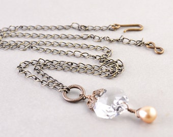 Vintage Glass Brass Necklace, Chandelier Crystal, Pearl Necklace