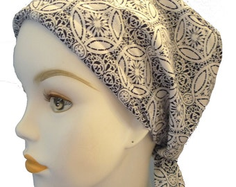 Classic Black & White Cancer Hat Chemo Scarves Head Wrap Hair Loss Turban Headcovering Bad Hair Day Hat