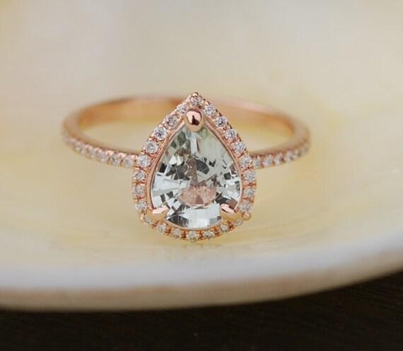 Teal sapphire ring engagement ring diamond ring 14k rose gold