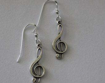 Sterling Silver TREBLE CLEF Earrings - Music, Musician, Performer