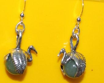 Sterling Silver & Aventurine CRANE Earrings -